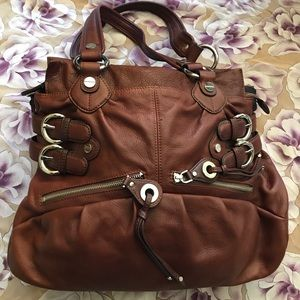B Makowsky large burgundy soft leather handbag